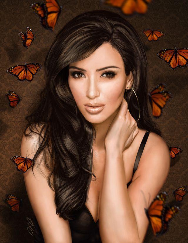 """Предпросмотр - Схема вышивки  """"Девушка и бабочки """" - Схемы автора  """"VA903M """" - Вышивка крестом."""