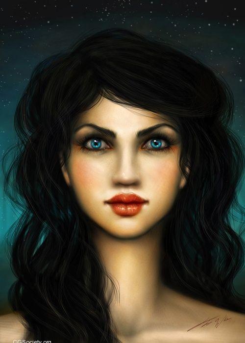Visage femme brune yeux bleus - Brune yeux bleus ...