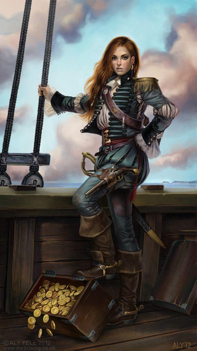 femme pirate et trésor